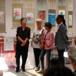 Gli artisti Emiliana Lippi, Ricar Bonilla  e Kazuko Kataoka con la critica d'arte Roberta Fiorini