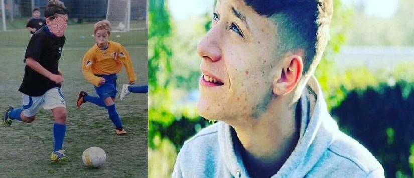 A sinistra, Gabriele qualche anno fa in un'azione durante una partita dell'Audace Legnaia, a destra Gabriele poco prima della tragica scomparsa