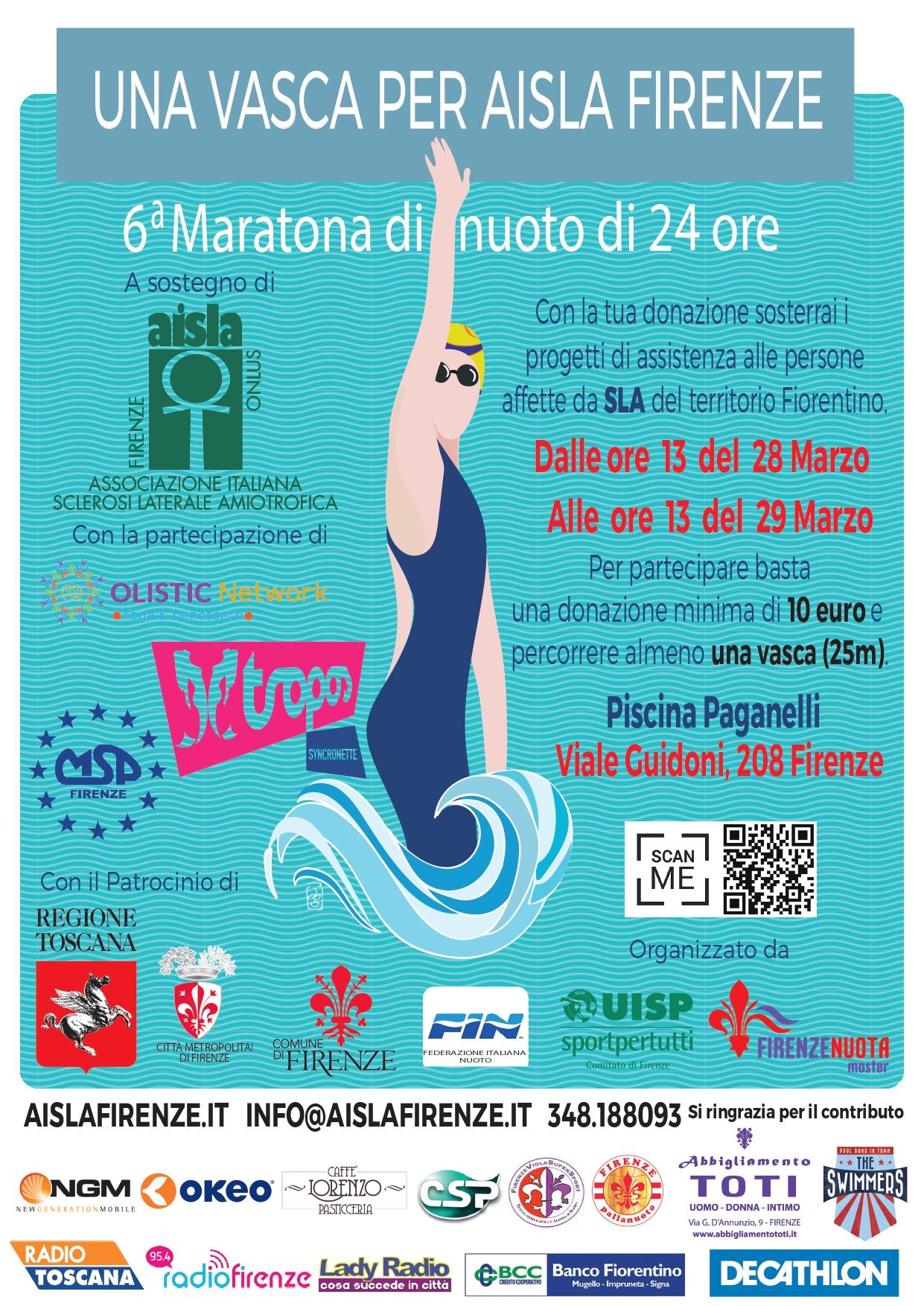 """Maratona Nuoto 6^ edizione 2020, """"Una vasca per AISLA Firenze"""""""