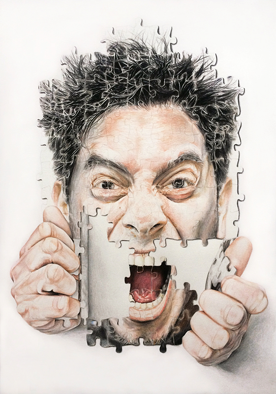 A-criticArt, Antisociale, tecnica mista su carta 60x42, Credits Galleria d'arte La Fonderia