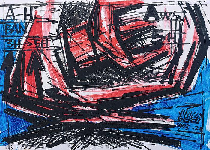 Vinicio Berti, A-H BAN, Idropittura su carta, 50x70 cm, Credits Galleria d'arte La Fonderia (1)