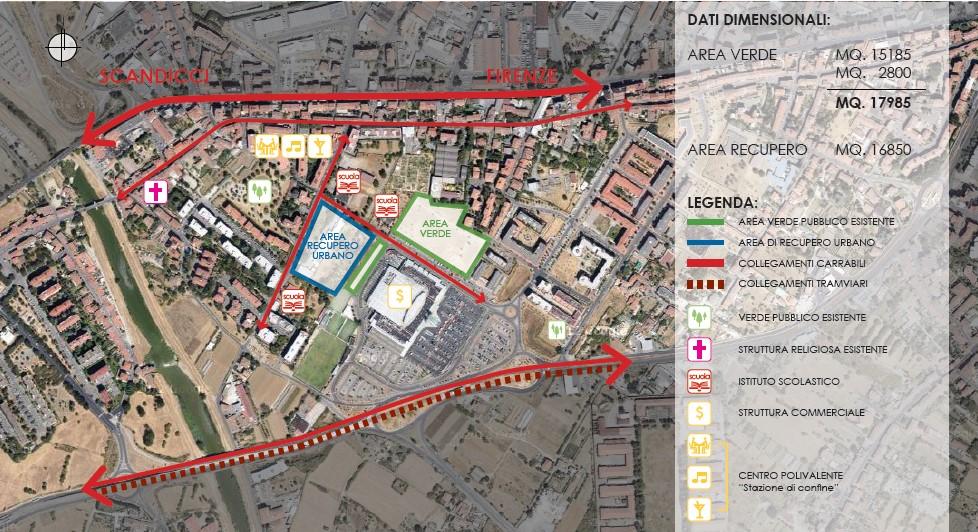 L'area alternativa individuata nel principale progetto dal Comitato area verde San Lorenzo a Greve, con la chiesa in via Bugiardini