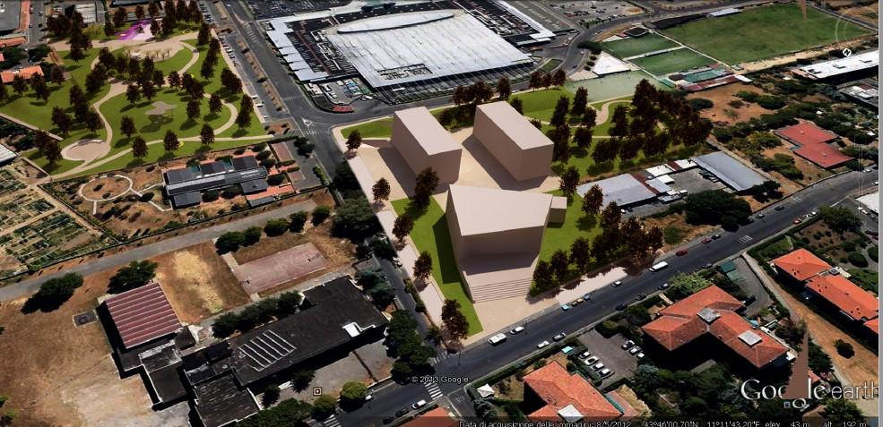 Visuale tridimensionale del progetto alternativo proposto dal comitato