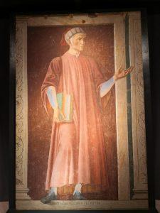L'affresco che raffigura il Sommo Poeta Dante Alighieri
